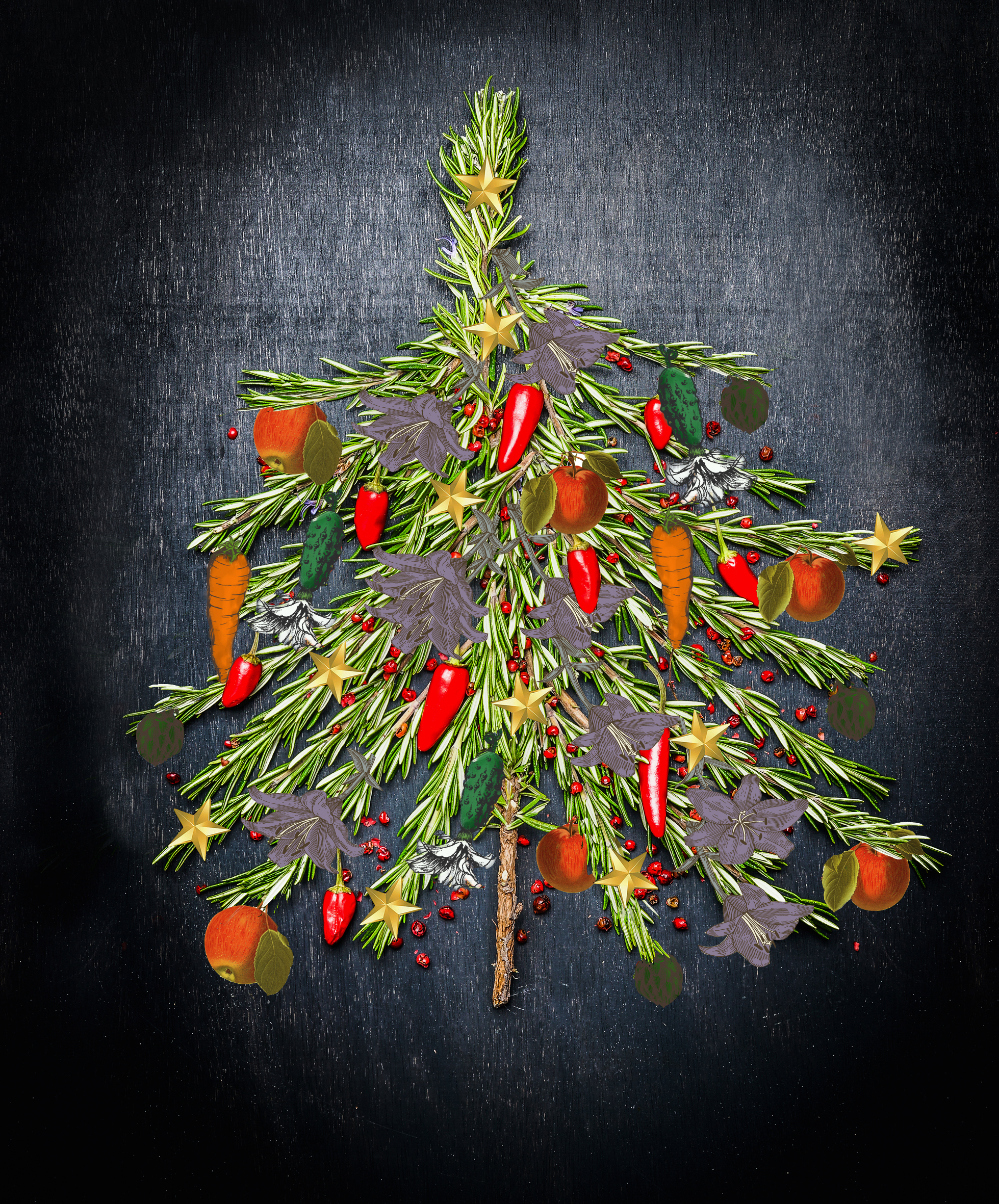 Food Christmas tree made of fresh rosemary and red chili on dark background, top view